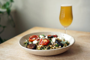 The Beer Lover's Table: Pearl Couscous With Roasted Aubergines & Tomatoes and Donzoko Northern Helles
