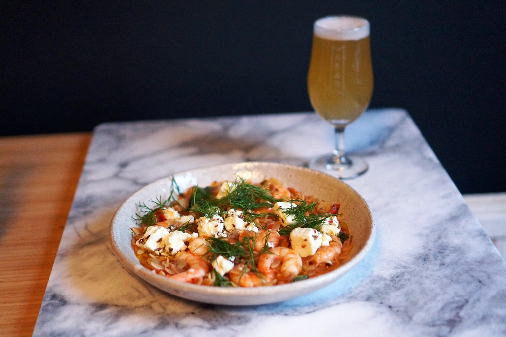The Beer Lover's Table: Mediterranean Orzo with Prawns and Marinated Feta and St Bernardus Wit
