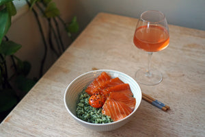Wine & Food Killers: Soy-Cured Salmon Sashimi and Egg Yolks with Herb Rice and Domaine Durrmann Rosé de Pinot Noir Nature 2019