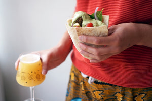 The Beer Lover's Table: Falafel Pita Sandwiches & Abbeydale Brewery Huckster NEIPA