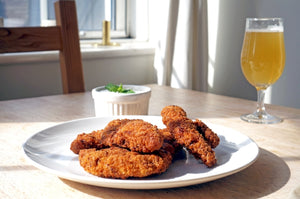 The Beer Lover's Table: Indian-Spiced Fried Chicken Goujons with Raita and Beavertown X De La Senne Brattish Anglo-Belge Pale Ale