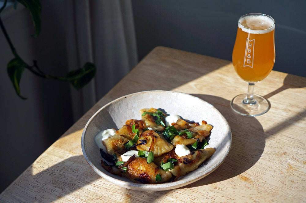 The Beer Lover's Table: Wild Garlic Pierogi with Caramelised Onions and Left Handed Giant x Whiplash There, There Rye IPA