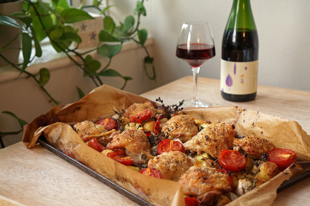 Wine & Food Killers: Roasted Chicken Thighs with Potatoes, Bell Peppers & Balsamic Tomatoes and Jauma Like Raindrops Grenache 2017