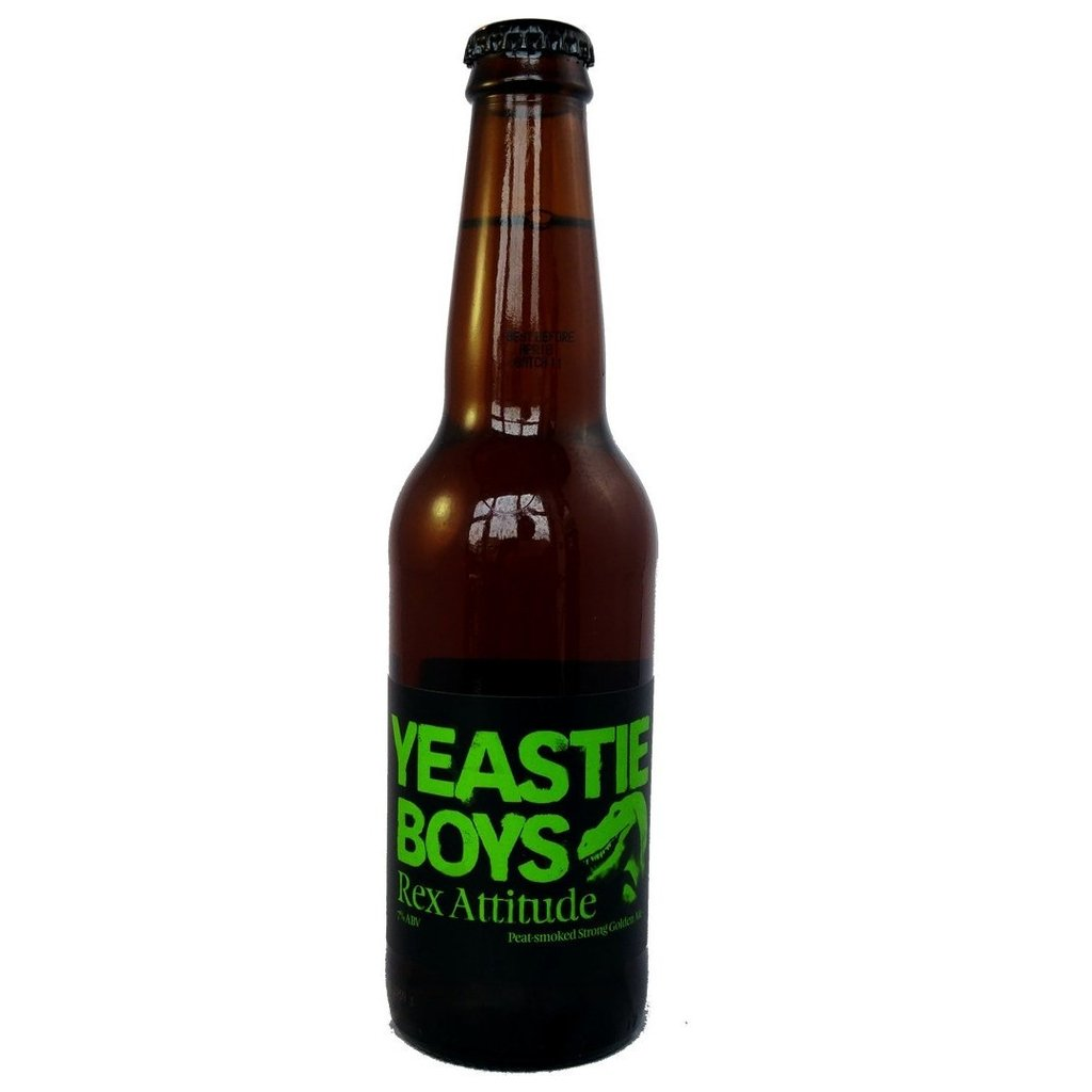 Yeastie Boys Rex Attitude Peat-Smoked Golden Ale 7% (330ml)-Hop Burns & Black