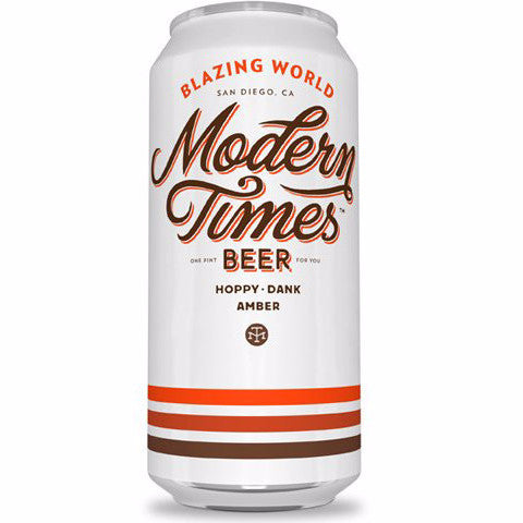 Modern Times Blazing World Amber 6.8% (473ml can)-Hop Burns & Black