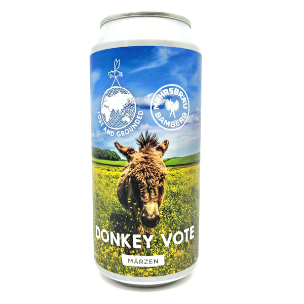 Lost & Grounded x Mahr's Brau Donkey Vote Marzen 5.2% (440ml can)-Hop Burns & Black