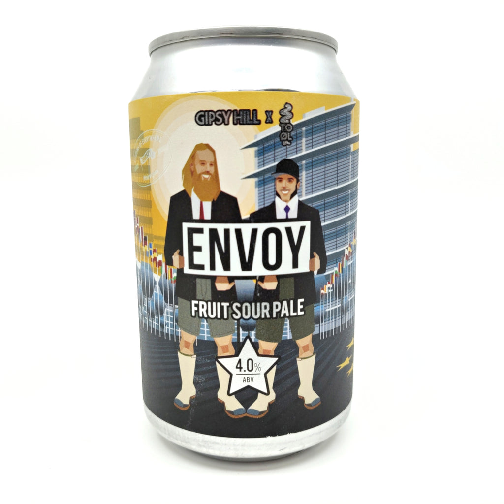 Gipsy Hill x To Ol Envoy Fruit Sour Pale 4% (330ml can)-Hop Burns & Black