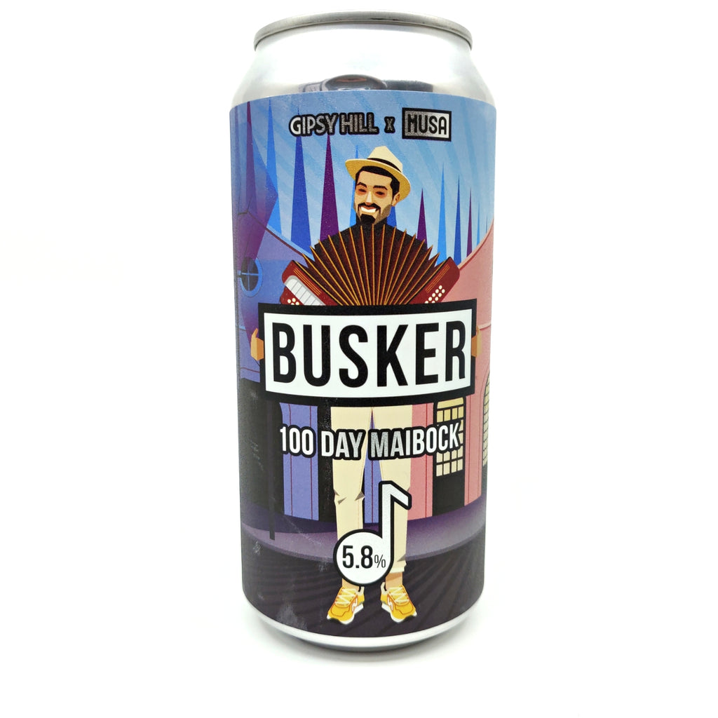 Gipsy Hill x Cerveja Musa Busker 100 Day Maibock 5.8% (440ml can)-Hop Burns & Black