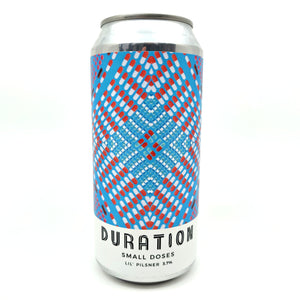 Duration Small Doses Lil' Pilsner 3.7% (440ml can)-Hop Burns & Black