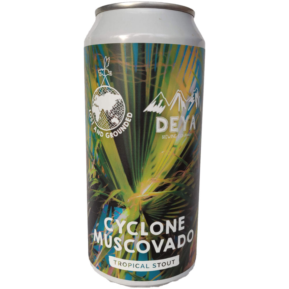 Lost & Grounded x Deya Cyclone Muscovado Tropical Stout 6.5% (440ml can)-Hop Burns & Black
