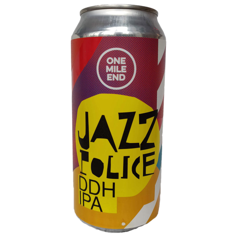 One Mile End Jazz Police DDH IPA 6.3% (440ml can)-Hop Burns & Black