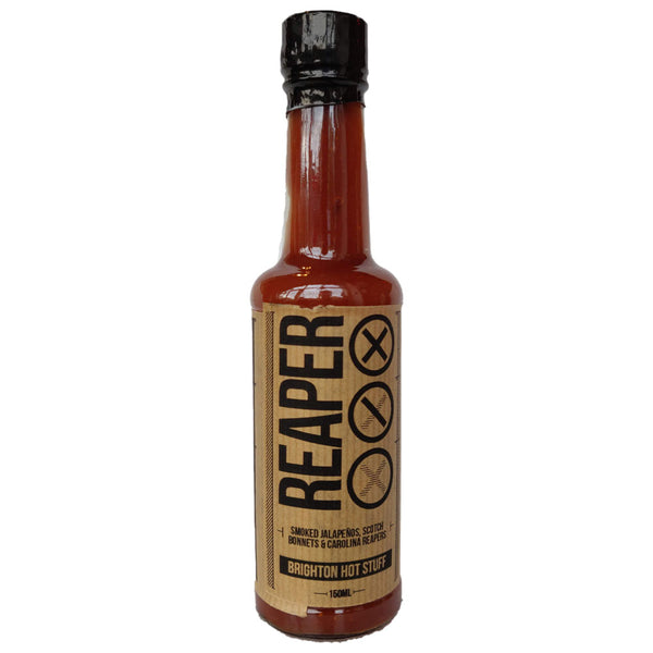 Brighton Hot Stuff Reaper Hot Sauce (150ml)-Hop Burns & Black