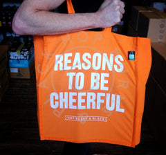 "Hop Burns & Black ""Reasons To Be Cheerful"" tote bag - orange-Hop Burns & Black"
