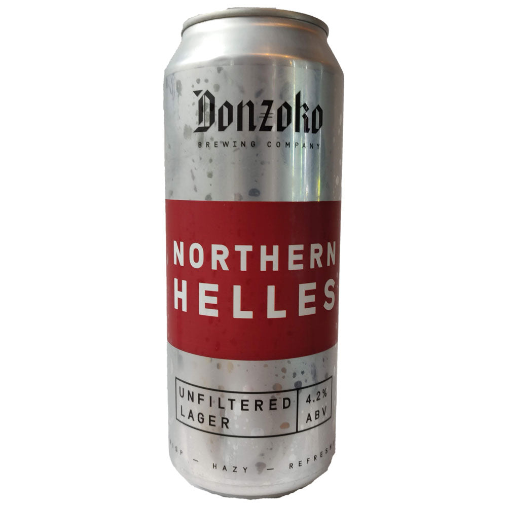 Donzoko Northern Helles Unfiltered Lager 4.2% (500ml can)-Hop Burns & Black