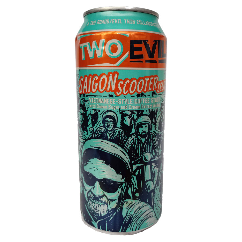 Two Roads x Evil Twin Saigon Scooter Selfie Vietnamese Coffee Stout 9.5% (473ml can)-Hop Burns & Black