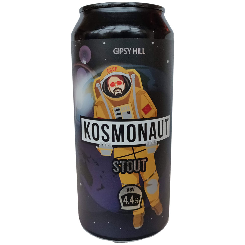 Gipsy Hill Kosmonaut Stout 4.4% (440ml can)-Hop Burns & Black