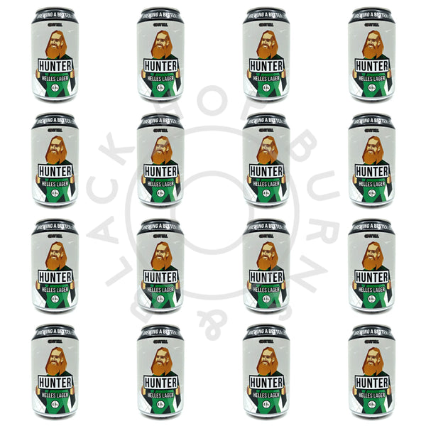 Gipsy Hill Hunter Helles Lager 4.8% CASE (24 x 330ml can)-Hop Burns & Black