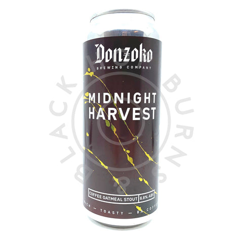 Donzoko Midnight Harvest Coffee Oatmeal Stout 6.8% (500ml can)-Hop Burns & Black