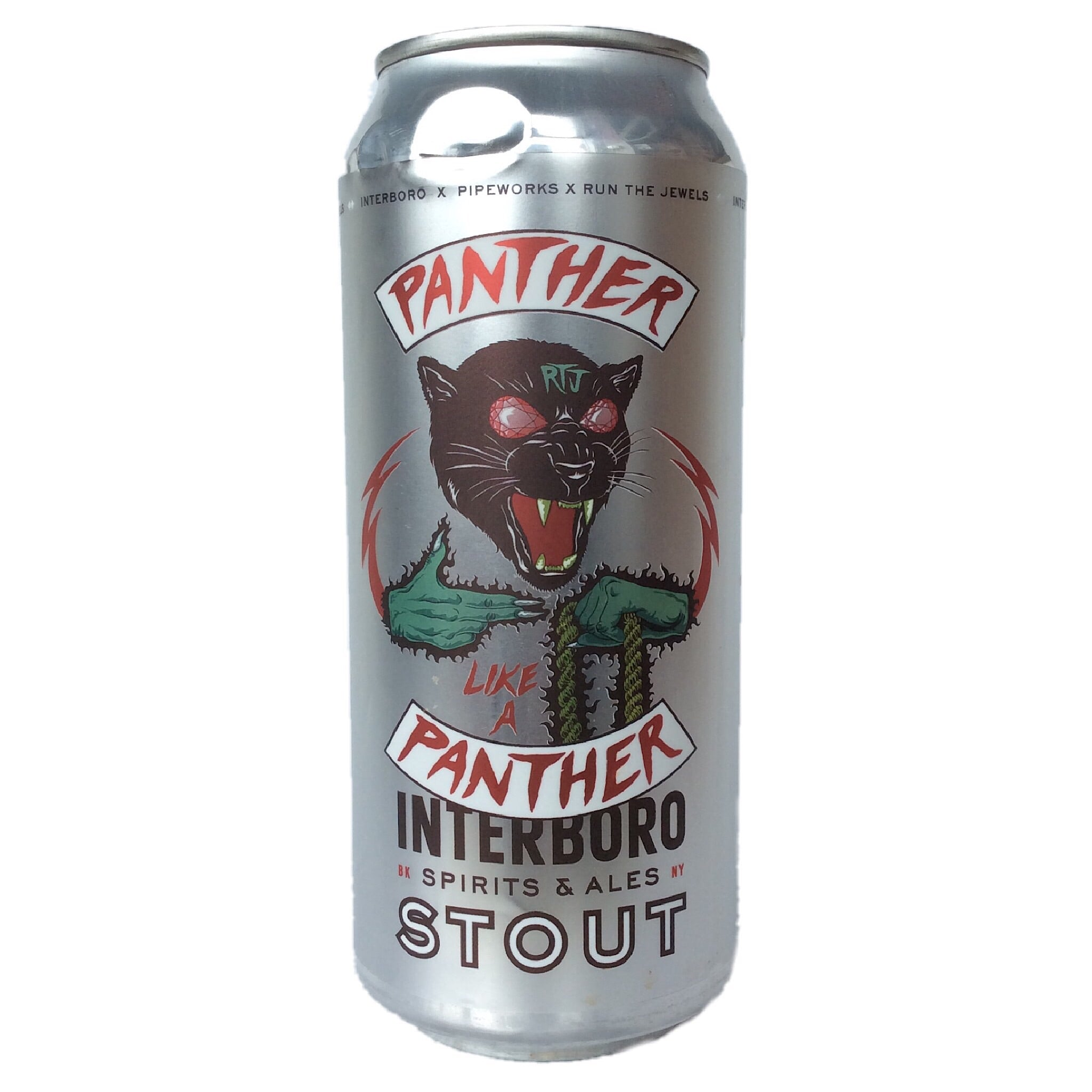 Interboro x Pipeworks x Run The Jewels Panther Like A Panther Stout 6.5% (473ml can)-Hop Burns & Black