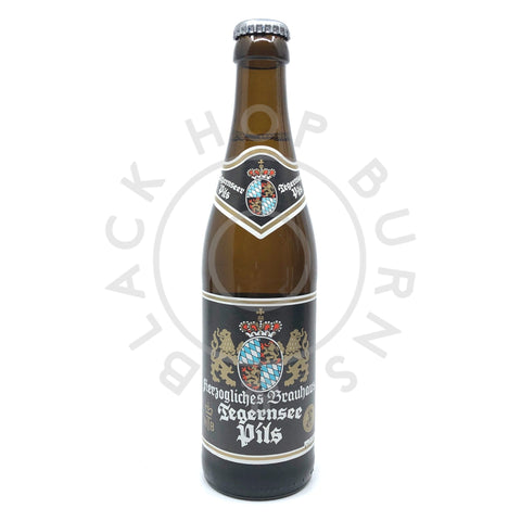 Tegernsee Pils 5% (330ml)-Hop Burns & Black