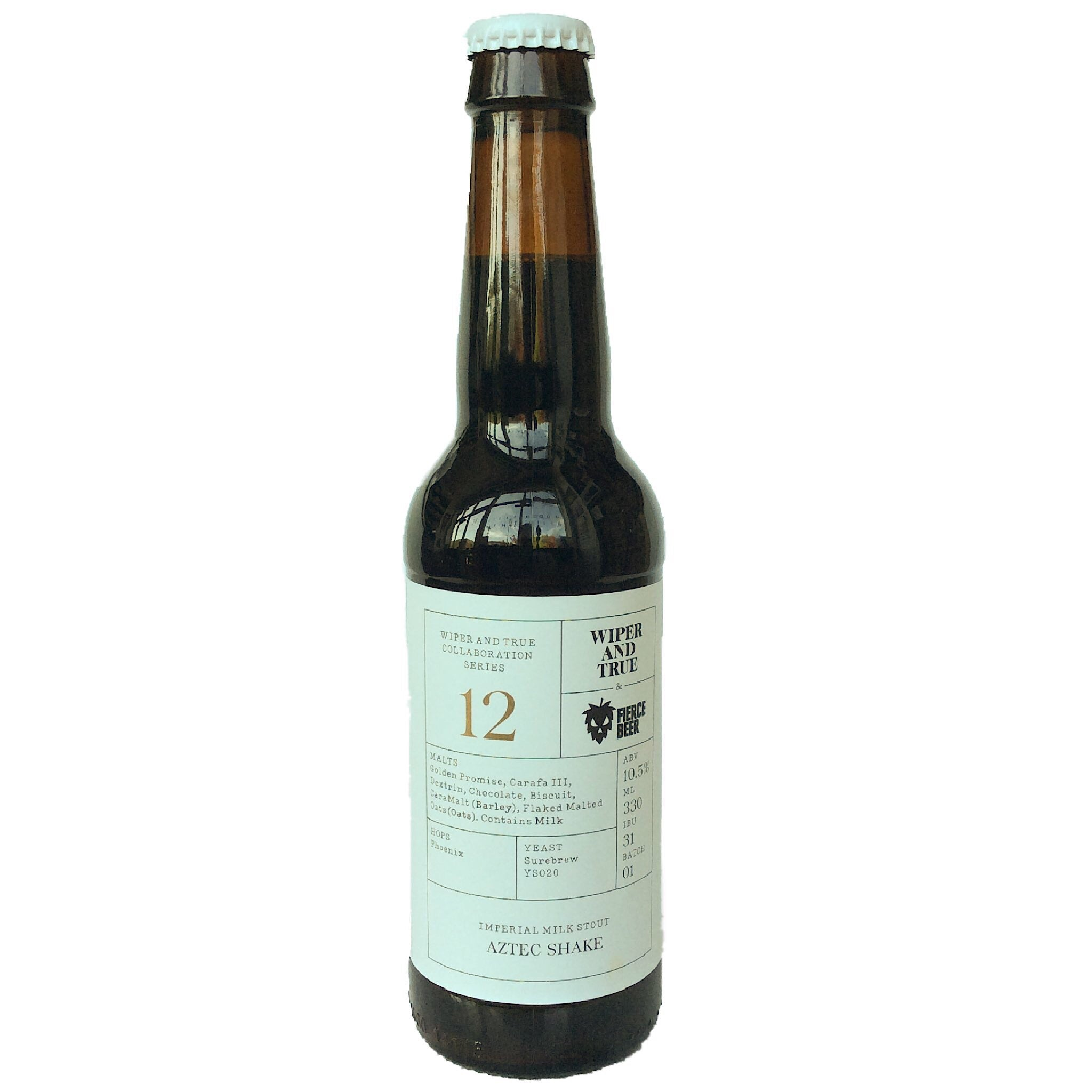 Wiper & True x Fierce Beer Aztec Shake Imperial Milk Stout 10.5% (330ml)-Hop Burns & Black