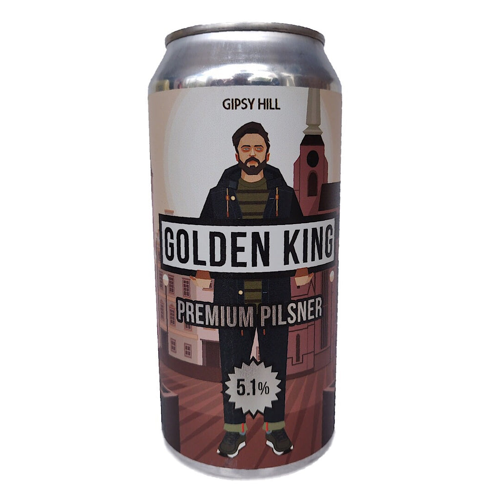 Gipsy Hill Golden King Pilsner 5.1% (440ml can)-Hop Burns & Black
