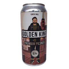 Gipsy Hill Golden King Pilsner 51.% (440ml can)-Hop Burns & Black
