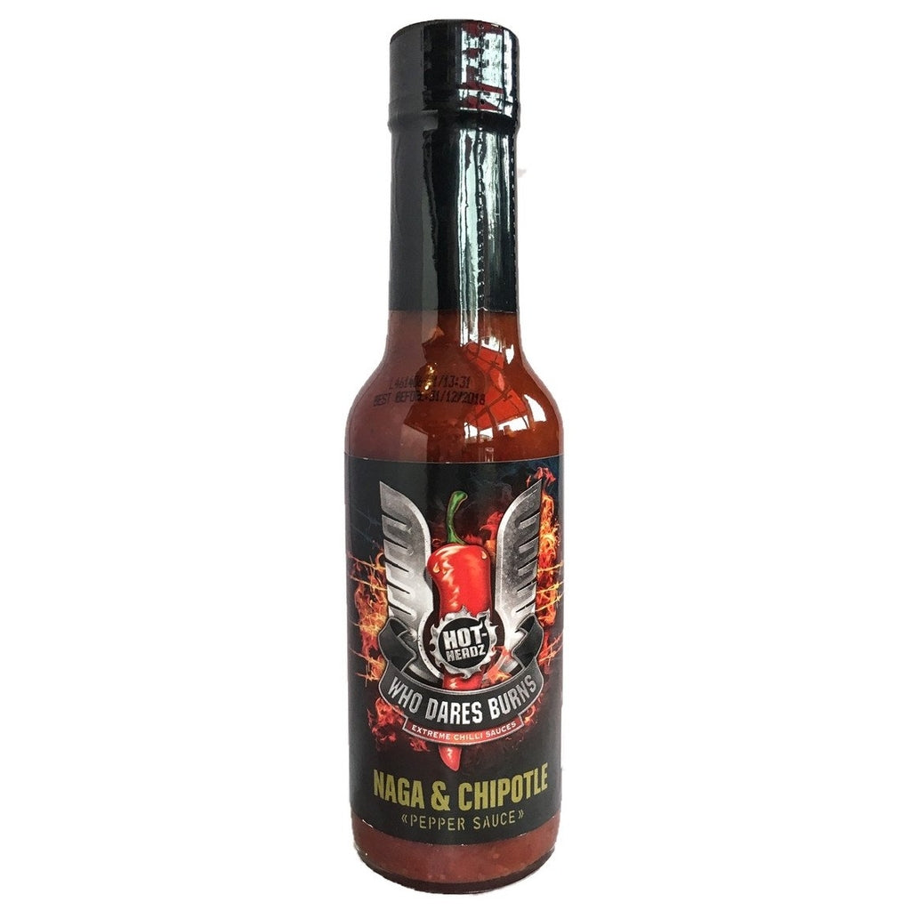 Hot Headz Who Dares Burns Naga & Chipotle Pepper Sauce (148ml)-Hop Burns & Black
