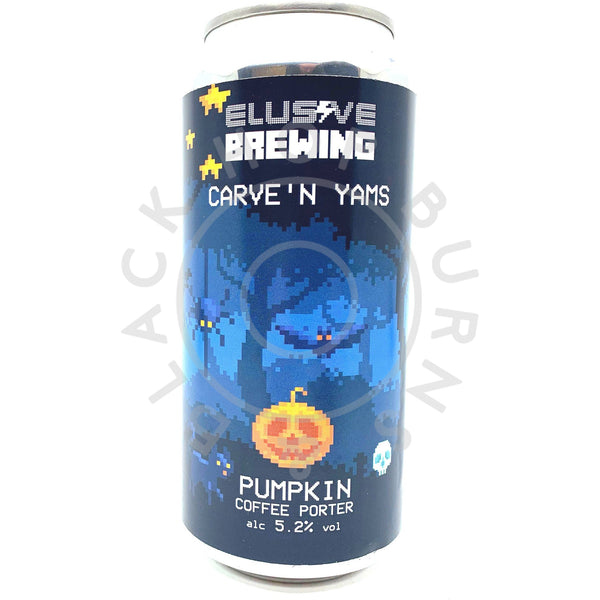 Elusive Brewing Carve'n Yams Pumpkin Coffee Porter 5.2% (440ml can)-Hop Burns & Black