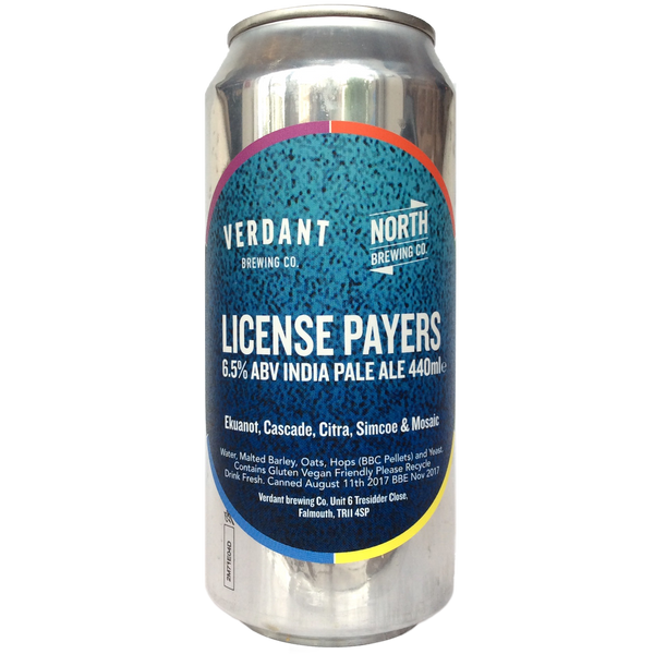 Verdant x North Brewing Co. License Payers IPA 6.5% (440ml can)-Hop Burns & Black