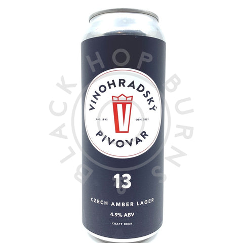 Vinohradsky Pivovar Jantorova 13 Czech Amber Lager 4.9% (500ml can)-Hop Burns & Black