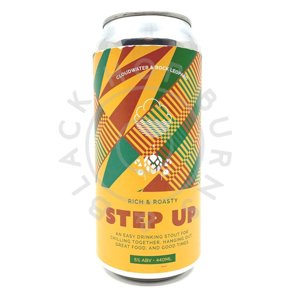Rock Leopard Step Up Stout 5% (440ml can)-Hop Burns & Black