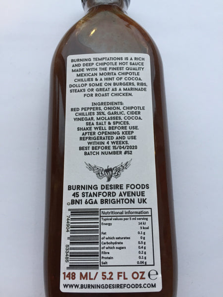 Burning Desire Burning Temptations Chipotle Hot Sauce (150ml)-Hop Burns & Black