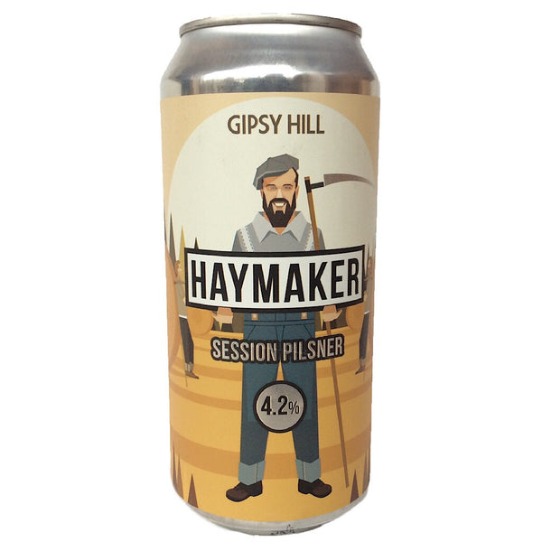 Gipsy Hill Haymaker Session Pilsner 4.2% (440ml can)-Hop Burns & Black
