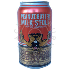 Belching Beaver Peanut Butter Milk Stout 5.3% (375ml can)-Hop Burns & Black