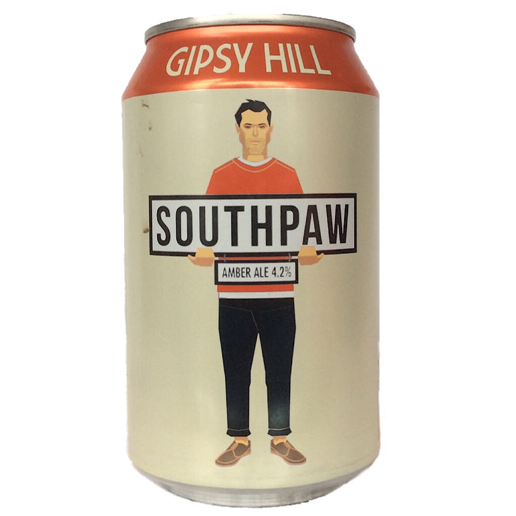 Gipsy Hill Southpaw Amber Ale 4.2% (330ml can)-Hop Burns & Black
