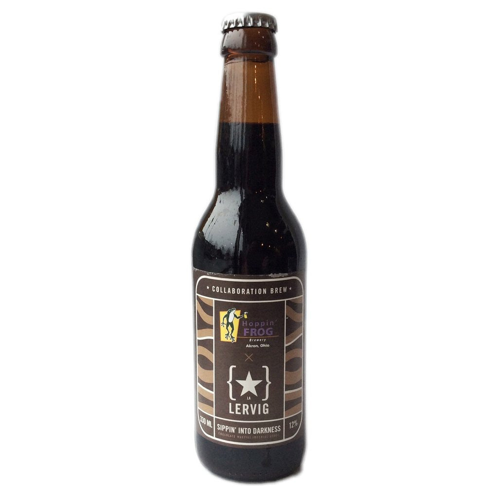 Lervig & Hoppin' Frog Sippin' Into Darkness Chocolate Martini Imperial Stout 12% (330ml)-Hop Burns & Black