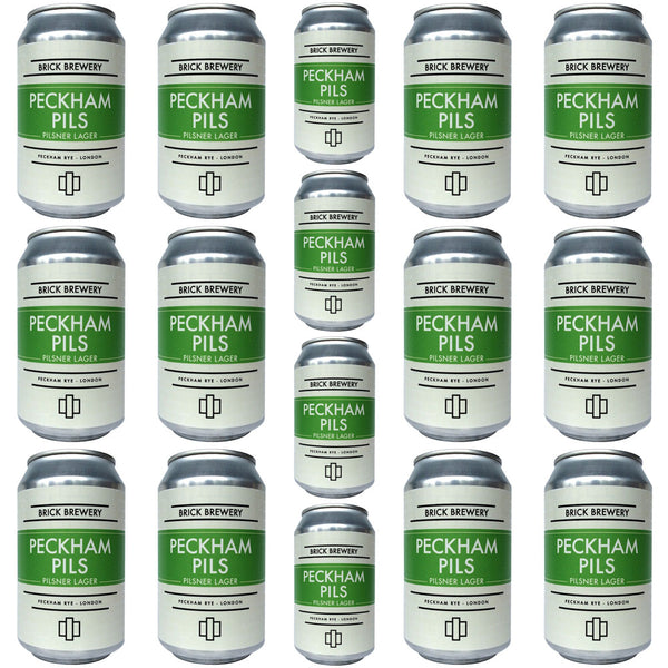 Brick Brewery Peckham Pils 4.8% CASE (24 x 330ml cans)-Hop Burns & Black