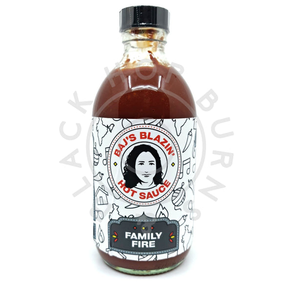 Baj's Blazin' Hot Sauce Family Fire (240ml)-Hop Burns & Black
