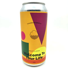 Cloudwater Welcome To Your Life Fruit Sour 5.2% (440ml can)-Hop Burns & Black