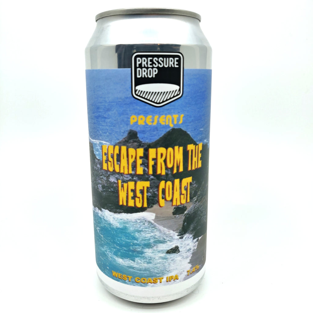 Pressure Drop Escape From The West Coast IPA 7.4% (440ml can)-Hop Burns & Black