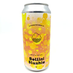 Cloudwater Peach Bellini Slushie 8% (440ml can)-Hop Burns & Black