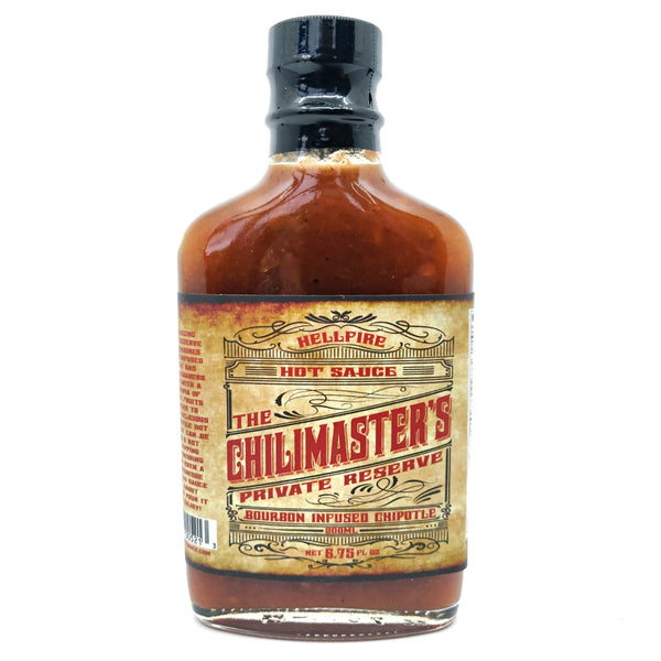 Hellfire The Chilimaster's Private Reserve Bourbon Infused Chipotle Sauce (200ml)-Hop Burns & Black