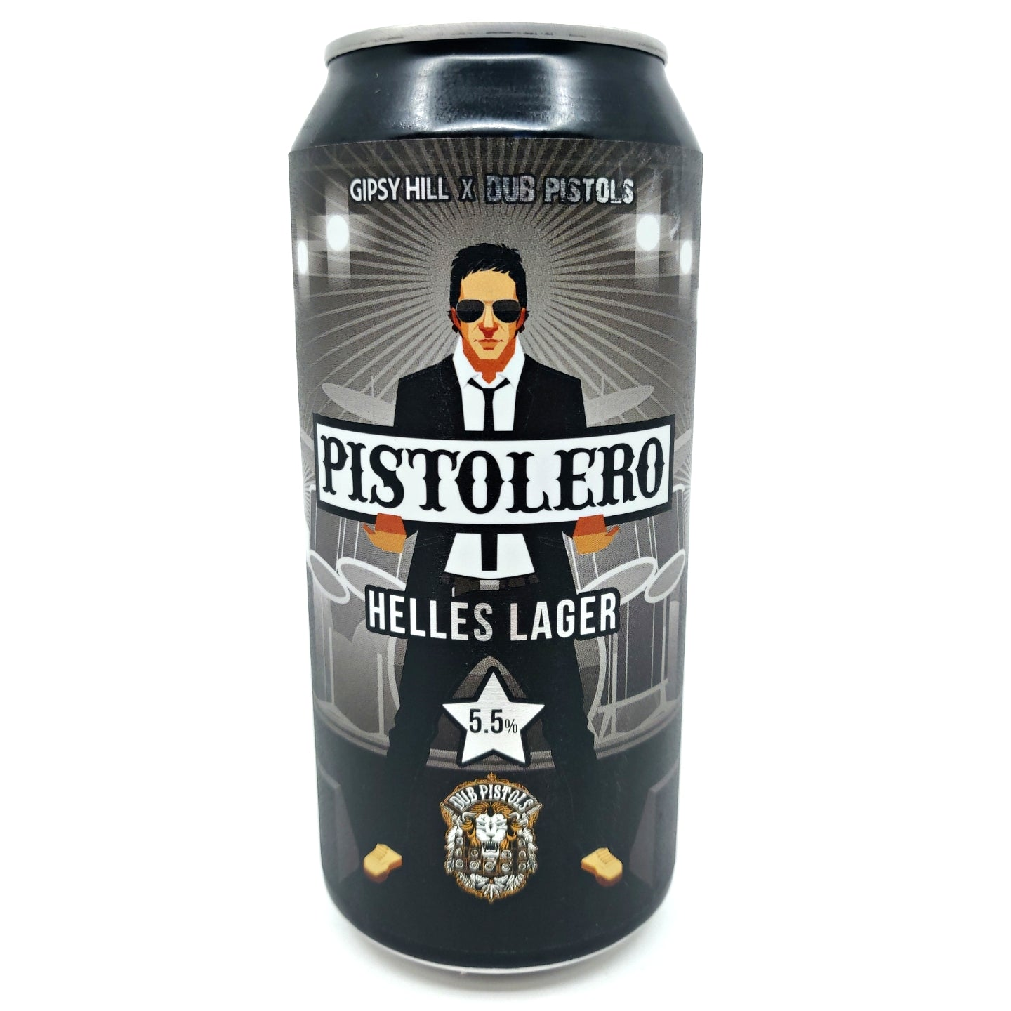 Gipsy Hill x Dub Pistols Pistolero Helles Lager 5.5% (440ml can)-Hop Burns & Black
