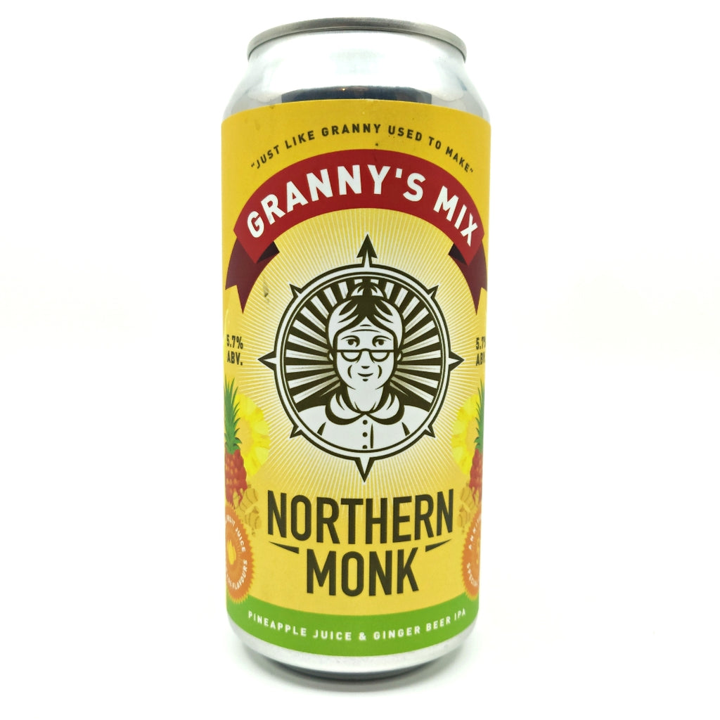 Northern Monk Granny's Mix Pineapple Juice & Ginger Beer IPA 5.7% (440ml can)-Hop Burns & Black