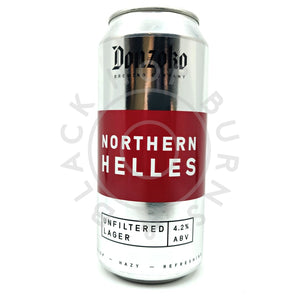 Donzoko Northern Helles Lager Unfiltered Lager 4.2% (440ml can)-Hop Burns & Black