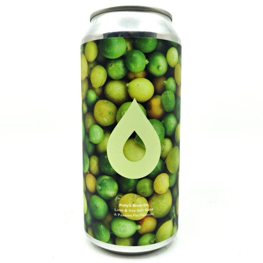Polly's Brew Co A Passion for Fashion Lime & Sea Salt Gose 4.5% (440ml can)-Hop Burns & Black