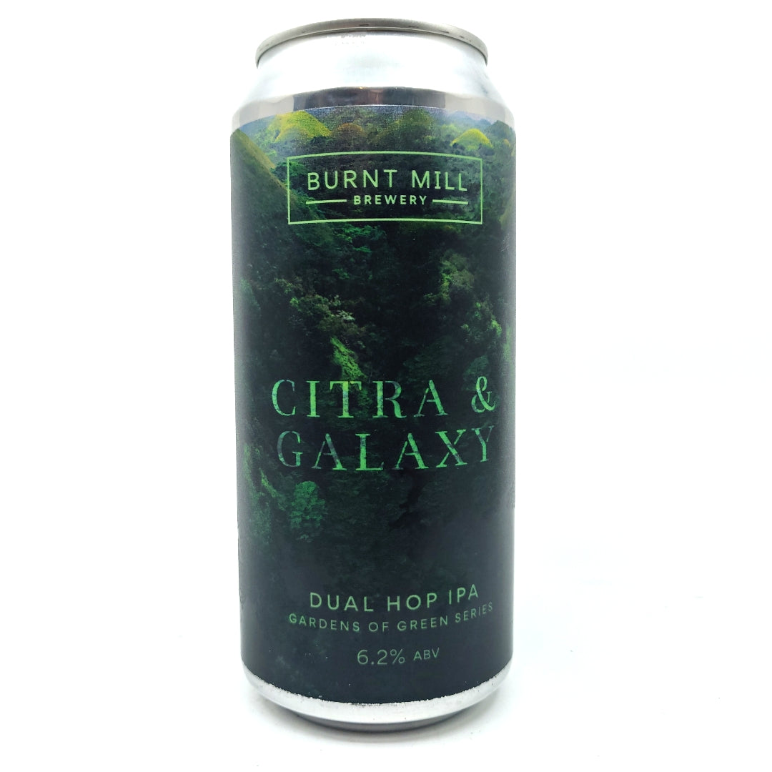 Burnt Mill Gardens Of Green Citra & Galaxy IPA 6.2% (440ml can)-Hop Burns & Black