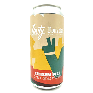 Unity x Donzoko Citizen Pils Czech-style Pilsner 4.8% (440ml can)-Hop Burns & Black