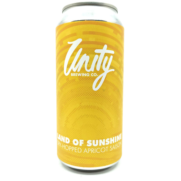 Unity Brewing Land of Sunshine Dry Hopped Apricot Saison 5.8% (440ml can)-Hop Burns & Black